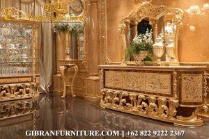 Gambar Meja Dinding Ukiran Emas Klasik, Meja Konsul Mewah Jati