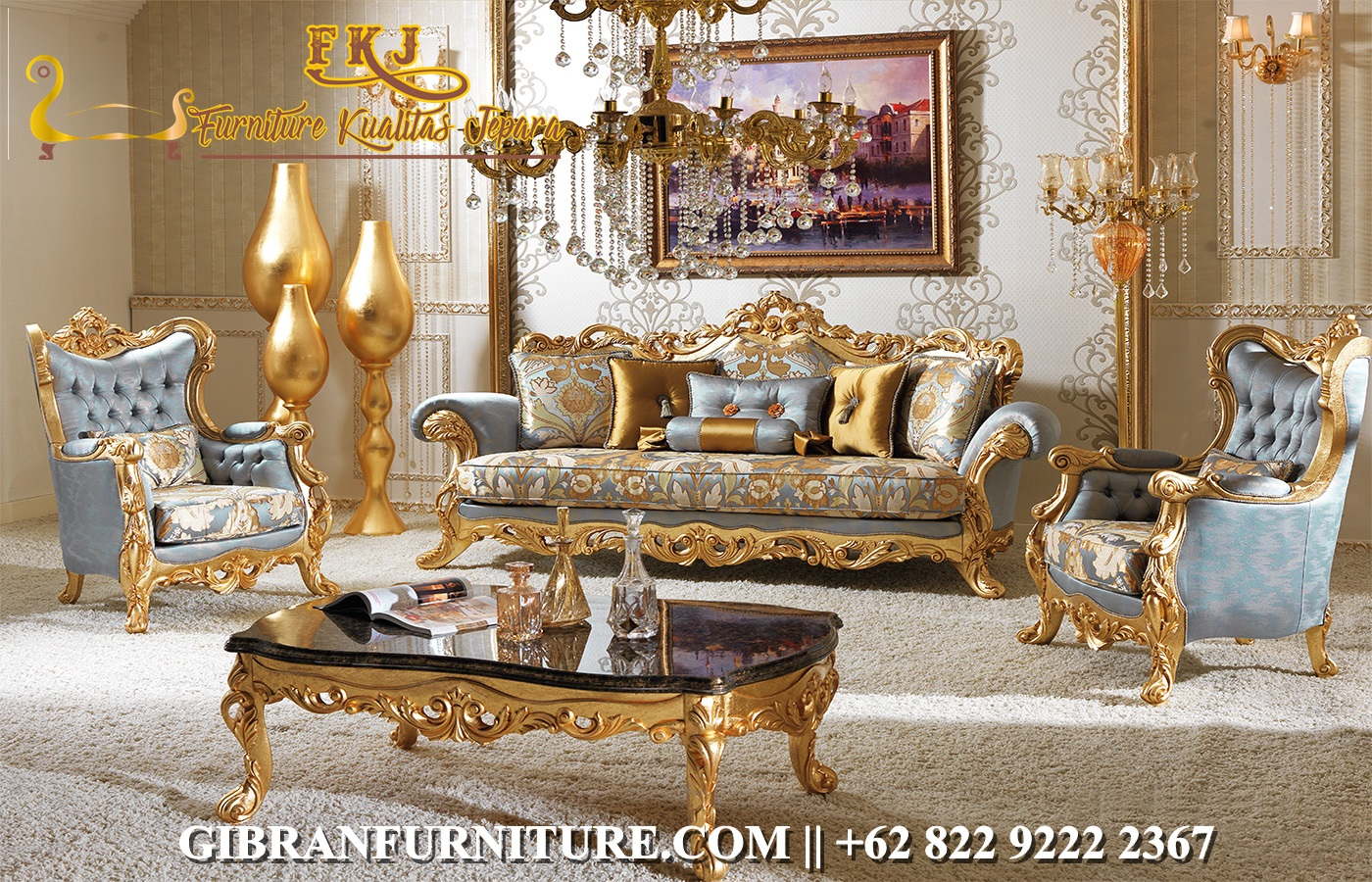Kursi Sofa Tamu Mewah Gold Ukir Jepara