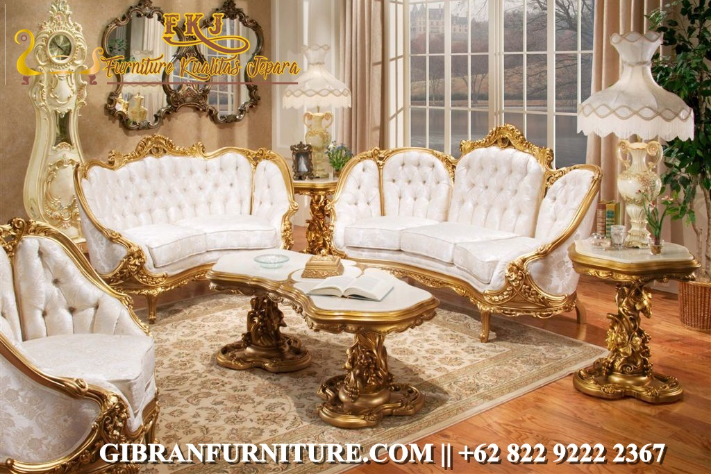 Kursi Sofa Tamu Mewah Gold Ukiran