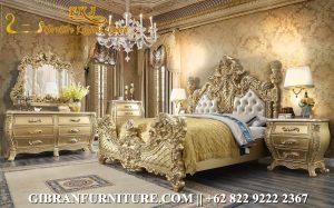 Model Tempat Tidur Full Ukiran Gold Jepara, Kamar Set Mewah Klasik Modern