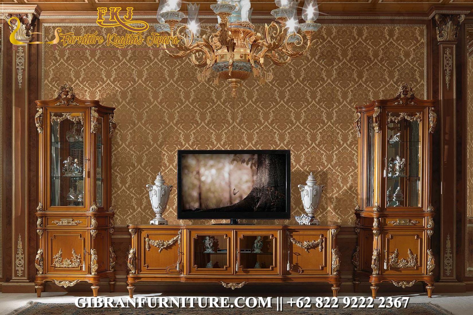 Set Bufet TV Mewah Kayu Jati