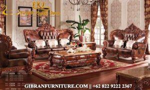 Set Kursi Tamu Ukiran Jati, Gambar Sofa Tamu Mewah Klasik Modern
