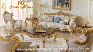 Sofa Ruang Tamu Mewah Classic Modern, Kursi Sofa Tamu Ukir Jepara Gold