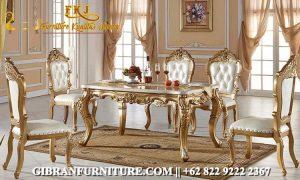 MMK-020 Gambar Kursi Makan Mewah Gold Ukir Jepara, Set Meja Makan Klasik Modern