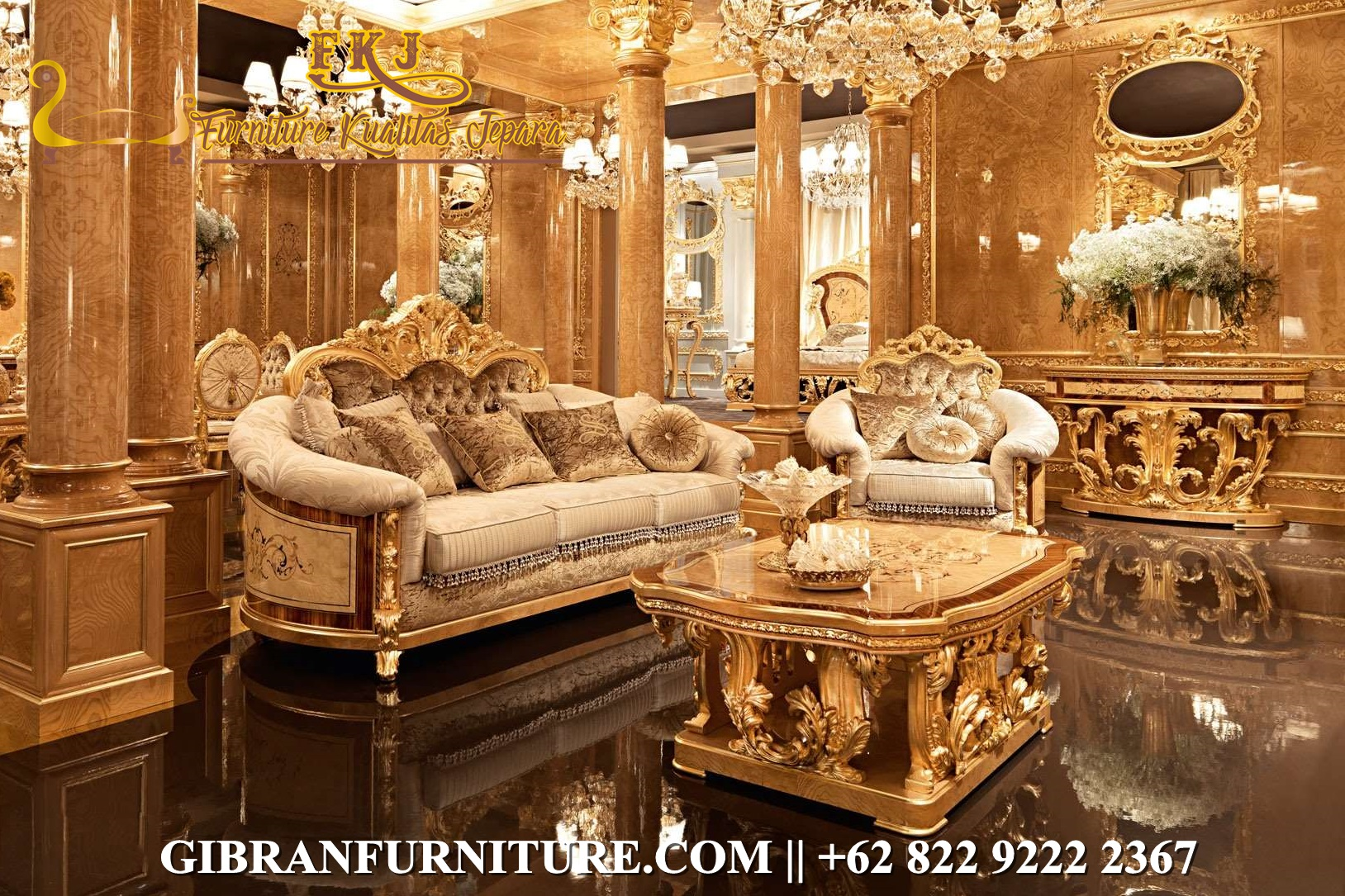 Gambar Sofa Tamu Mewah Jepara Gold