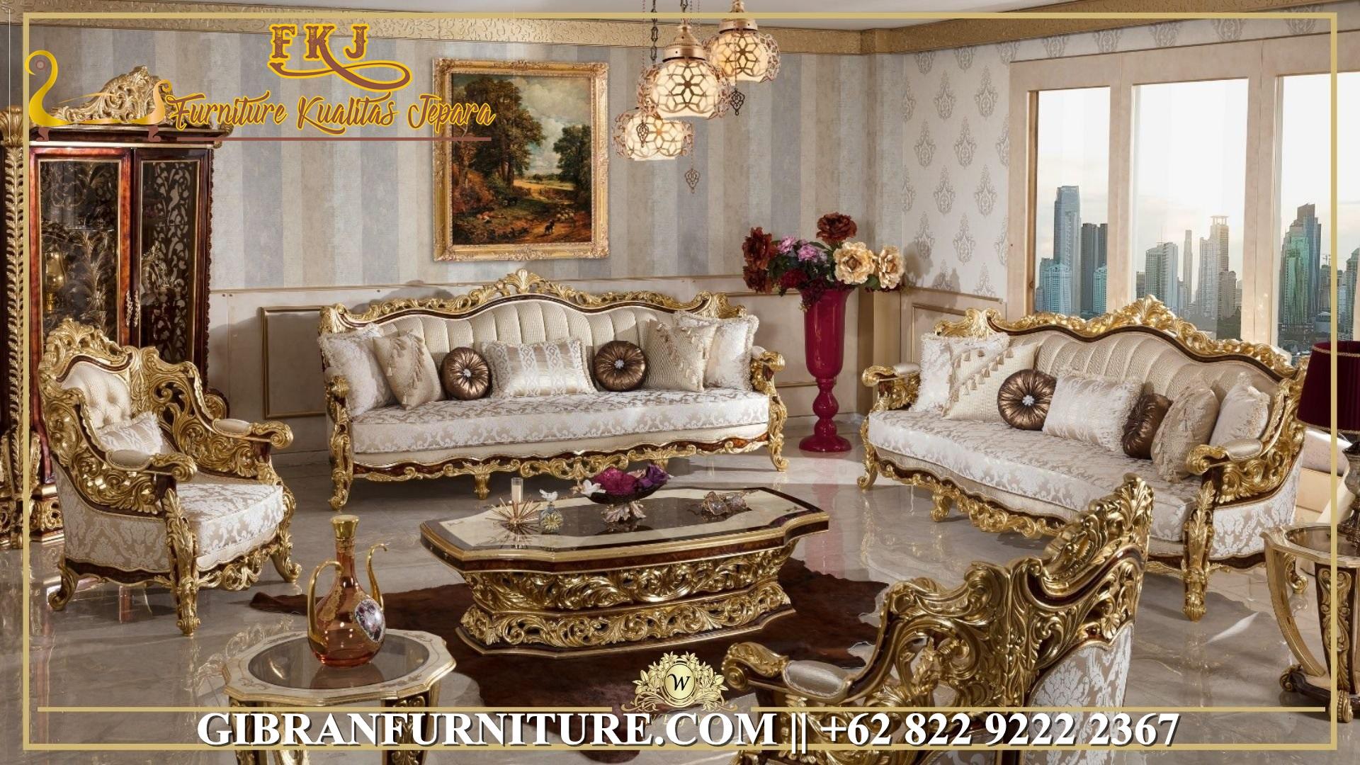 Kursi Sofa Tamu Ukiran Mewah Gold