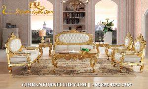Kursi Tamu Gold Mewah Ukiran, Sofa Tamu Mewah Klasik Modern