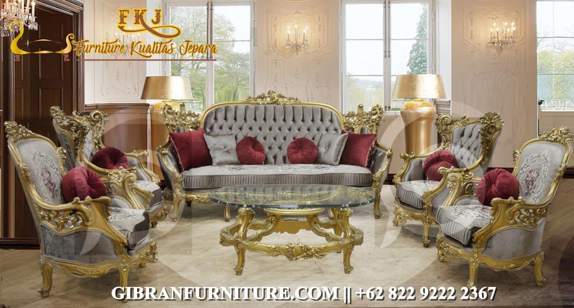 Set Kursi Tamu Gold Mewah Klasik