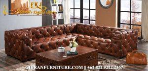 Sofa Ruang Keluarga Minimalis Chester Sudut, Set Sofa Tamu Mewah Minimalis Jati