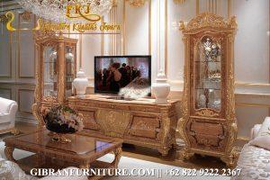 Bufet TV Mewah Klasik Modern, Set Bufet TV Ukiran Jepara Gold