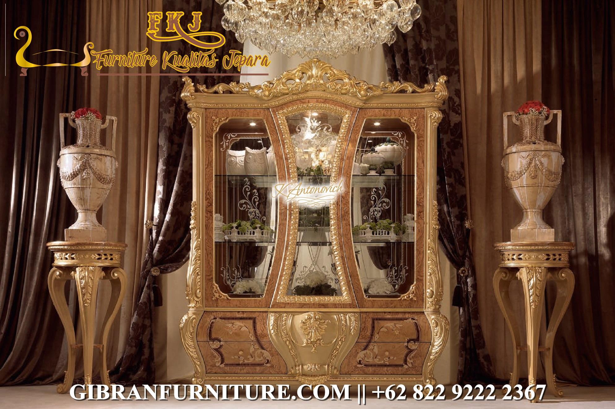 Lemari Hias Mewah Gold Klasik