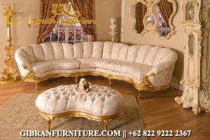 STM-080 Sofa Ruang Keluarga Klasik Modern, Set Sofa Tamu Mewah Ukiran Jepara