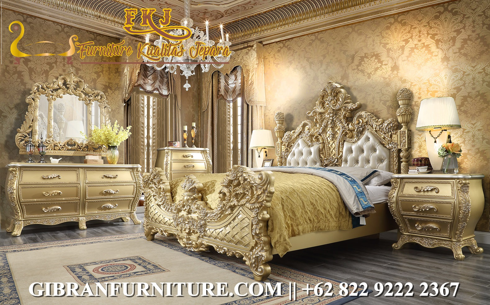 Gambar Tempat Tidur Ukiran Gold Mewah